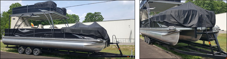 10' wide premier pontoon boat on a PT330 trailer