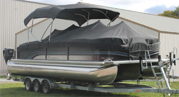 premier 28' pontoon boat on trailer