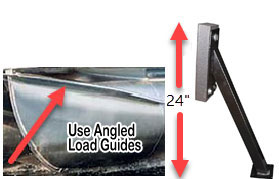 Angled pontoon trailer load guides