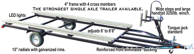 Single Axle Light Duty Flote-on Pontoon Trailer